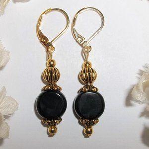 Small Black & Gold Earrings Minimalist Simple 6439